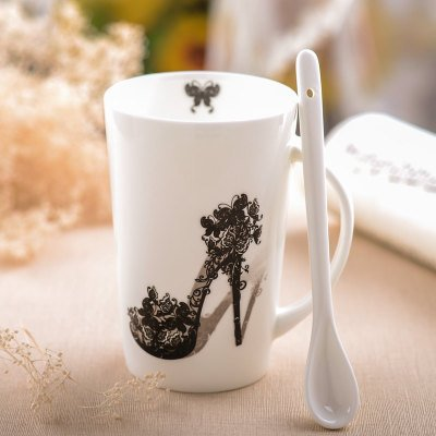 Creative Mugs Cup With lid spoon office Drinking glass Ceramic milk Coffee Cu/Heeled shoes -