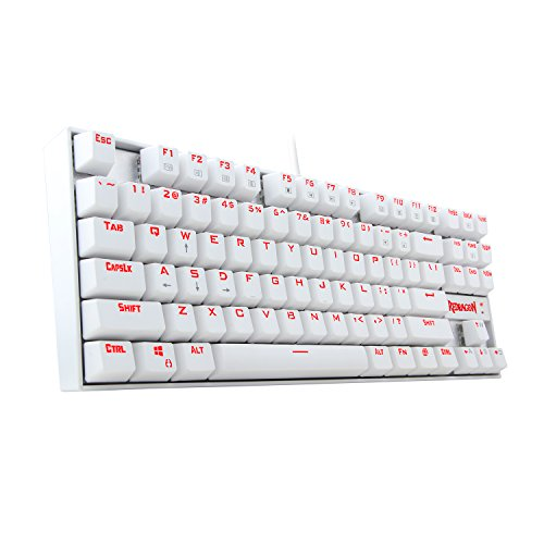 Redragon K552W KUMARA Gaming Keyboard Mechanical Compact 87 Key RED RGB LED Backlit Mechanical Computer Illuminated Keyboard, Blue Switches PC Gaming Keyboard ABS-Metal Design - WHITE by Redragon
