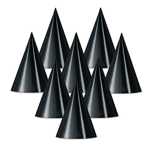 Club Pack of 48 Black Fun and Festive Party Foil Cone Hats ()