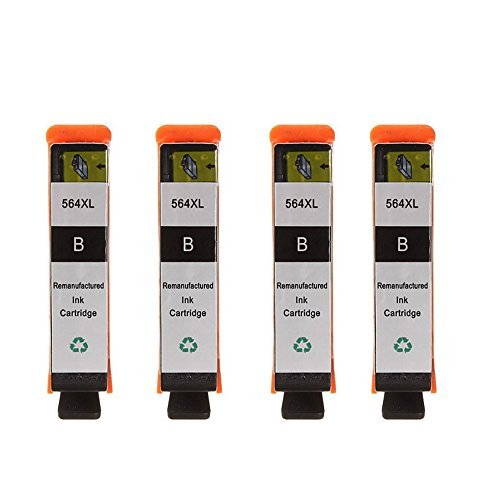 HOTCOLOR Replacement Ink Cartridges HP 564XL 4 Black Ink ...