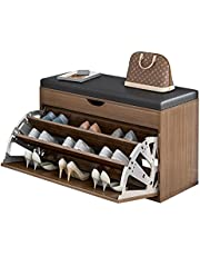 Shoe Storage Cabinet Shoe Bench with Seat, Shoe Storage with Drawers Soft Cushion Industrial Style for Hallway Entryway Shoes Rack (Color : A)