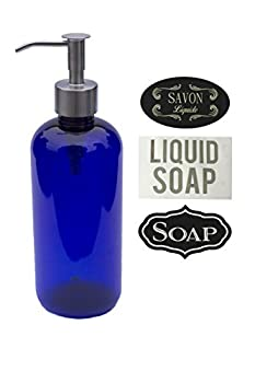 Milkweed Farms Cobalt Blue Plastic Soap Dispenser With Stainless Pump (Cobalt Blue)