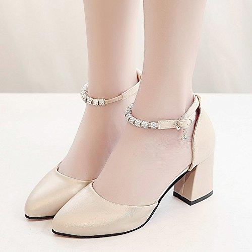 RUGAI-UE Sandalias de Verano Mujer High-Heeled hebilla Zapatos Zapatos de moda Champagne