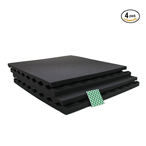 4 Pack Large Charcoal Acoustic Panels - Slim Convoluted Egg crate Acoustic Foam Padding - Enhance Sound Quality by Absorbing Noise and Echoes 3/4'x16'x16' (4 Tabs Included)