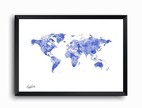 Craig Garcia ルイヴィトン WORLD MAP A1 A2サイズ (A1, ブルー) B01EV7ND92 A1|ブルー ブルー A1
