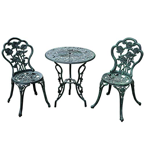 Top_Quality555 Antique Green Outdoor Bistro Patio Table and Chairs Set Premium Cast Iron 3 Piece (Set Vintage Patio Salterini)