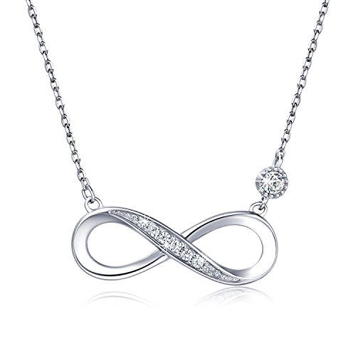 """925 Sterling Silver Necklace – Billie Bijoux """"Forever Love"""" Infinity Heart Love Pendant White Gold Plated Diamond Women Necklace Gift for Mother's Day (Bijoux Heart)"""