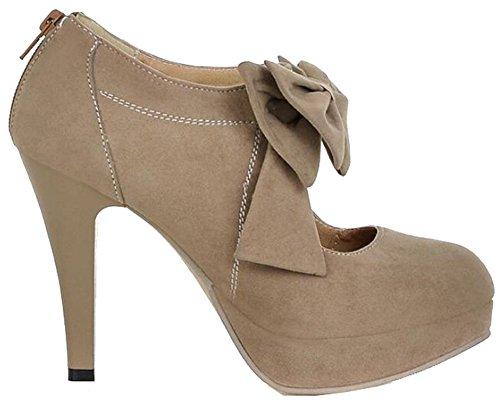 Großformat EUR35-EUR41 Vintage-Stil Frau kleine Fliege Plattformpumpen, ladys sexy hochhackige Schuhe, Brautschuhe für Leicht tan