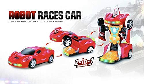 INCHOI Robot Races car Battery Operated Bump and Go Transforming Toys for Kids -Auto Transforming Auto Robots Action Figure and Toy Vehicles - Realistic Engine Sounds & Beautiful Flash Lights (Transforming Flash Light)