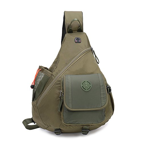 "DDDH Sling Bags Chest Pack One Shoulder Backpack Crossbody Book Bag For 13"" School Travel Daypack (14.1"" Army green)"
