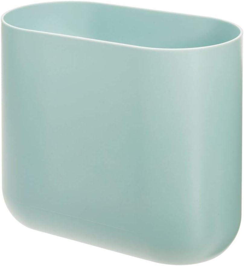iDesign Cade Oval Slim Trash, Compact Waste Basket Garbage Can for Bathroom, Bedroom, Home Office, Dorm, College-Matte Soft Aqua