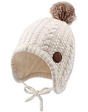JANGANNSA Winter Knit Baby Hat Twist Warm Beanie for Boys Girls Infant Toddler Baby Beanie with Pompom