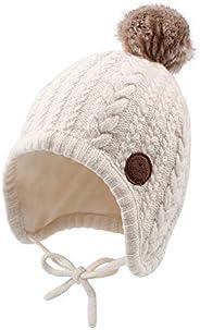 JANGANNSA Winter Baby Boys Hat Velvet Lining Toddler Kids Beanie Earflap Warm Baby Hat for Girls with Pompom