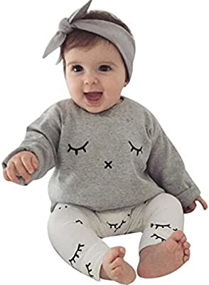 eae29283395 Amlaiworld Infantil Bebé Niño niña Cute pestañas de impresión camiseta Tops  + pantalones trajes ropa (18-24 Mes