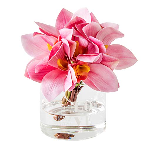 Fresh home,Artificial Flowers with Vase,Flower Arrangements,Deeppink Felt Orchid with Love Vase,for Home Decoration,Artificial Flower in Vase