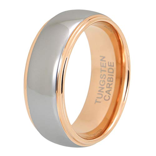 iTungsten 8mm Mens Tungsten Rings Womens Rose Gold Wedding Bands Domed Stepped Edges Polished Shiny Comfort Fit