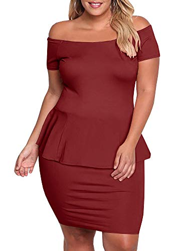 (Yskkt Womens Plus Size Peplum Dresses Off The Shoulder Short Sleeve Bell Sleeve Ruched Bodycon Sexy Mini Party Dress (X-Large, A-Wine Red))