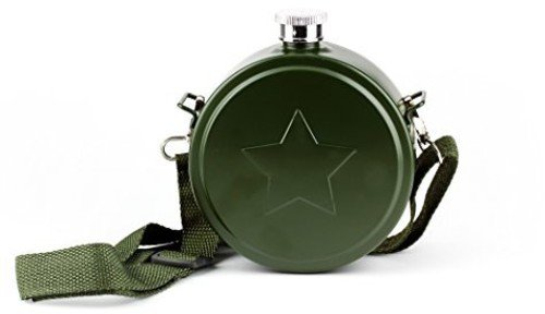 Barbuzzo Army Canteen with Carrying Strap - 20 Ounce Stainless Steel Portable Hydration Unit - Large Canteen Army Flask and Beverage Holder - Perfect for Tactical Enthusiasts