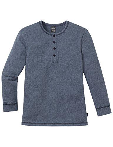 Schiesser Jungen Schlafanzugoberteil Mix & Relax Shirt 1/1, Gr. 140, Blau (dunkelblau-mel. 818)