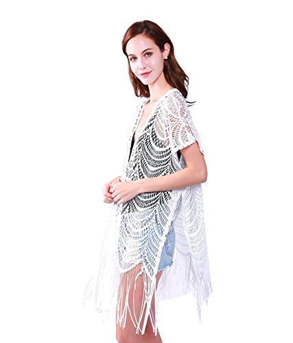 Womens Fashion Lace Crochet Open Front Cardigan Kimono Blouse Tops with Tassels (white)