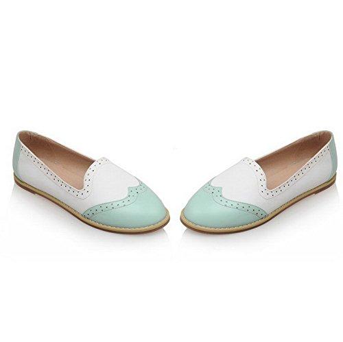 AllhqFashion Damen Weiches Material Rund Zehe Niedriger Absatz Ziehen auf Flache Schuhe Blau