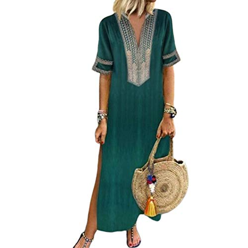 (Women's Bohemian Floral Print Split Cotton Linen Maxi Dress Deep V Neck Long Sleeve Casual Party Dresses (Short Sleeve-Green, L))