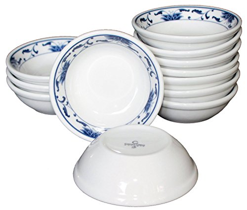 (Ceramic Side Sauce Dish and Pan Scraper, 3 Inch, 2 Ounce, Blue Lotus, 12-Pack)