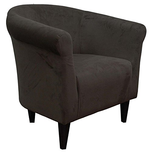 Upholstered Armchair Accent Barrel Back Arm Chair Microfiber Club Seat Decor Living Room Funiture And Decoration (Chocolate Brown)