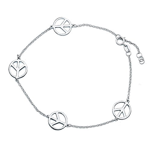 - Peace Sign Sterling Silver Anklet