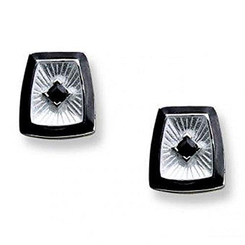 Onyx Ear Pin - Sterling Silver and Onyx Earrings