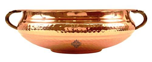 Indian Art Villa Vintage Style Copper Urli Container Pot, Storage Water, Home Office Décor Gift Item, Diameter 12