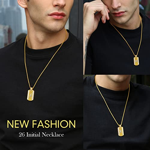 ETEVON Initial Necklace Stainless Steel Gold Plated X Pendant Necklaces Hip Hop Jewelry Gift for Men Women Christmas Birthday Boy Jewelry Gift for Husband Boyfriend Son