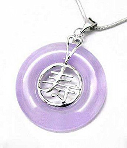 Purple Jade White Gold Plated Longevity Long Live Pendant - Purple Pendant Jade