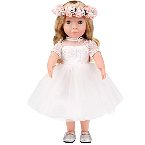 MeiMei 18 inch Doll Girl Wedding Toy Outfit Eyes Can Open & Close Toddler Dolls for Kids 3+ Adorable in Gift Box from MeiMei