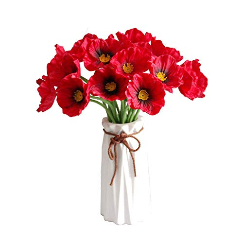 Takefuns 10 Pcs Realistic PU Artificial Poppy Flowers Fake Wedding Bouquet Arrangements for Home Kitchen Living Room Dining Table