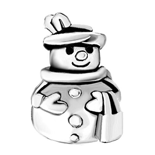 Lucky Jewelry Rhinestone Snowman Charms Beads Fit Bracelet (Winter Snowman)