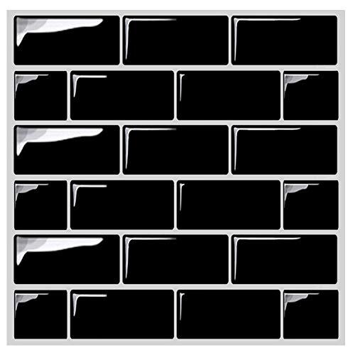 Besttile Premium Anti-Mold Self Adhesive Wall Tiles - Peel and Stick Kitchen Backsplash Vinyl Tile Black(10 sheets) ()