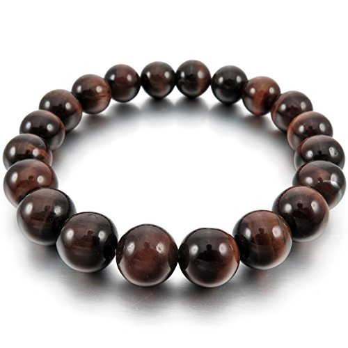 INBLUE Women,Men's 10mm Energy Bracelet Link Wrist Energy Stone Brown Buddha Mala Bead Elastic (Buddha Costume)