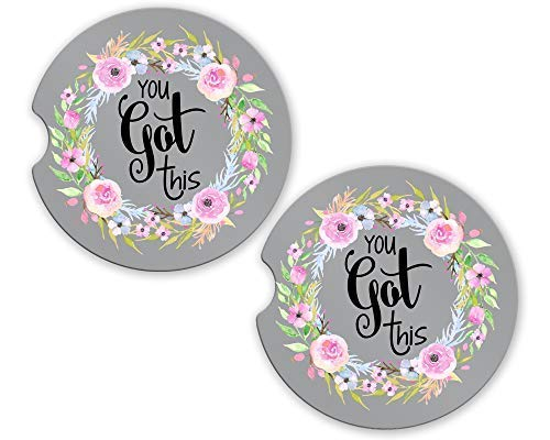 (Floral Car Coasters | You Got This| SET of 2 | 2.56