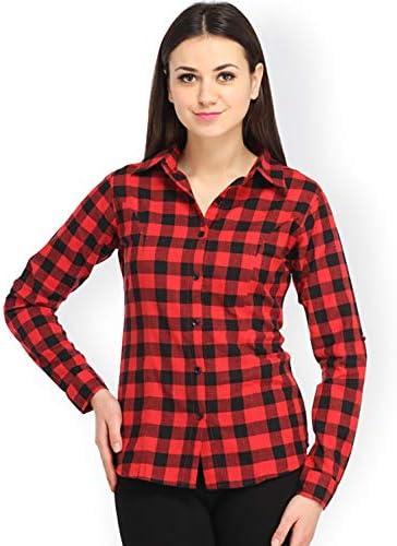 DAMEN MODE Women Red Checkered Cotton Shirt