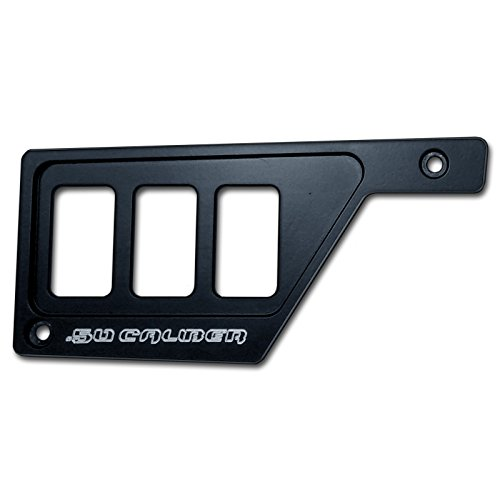 50 Caliber Racing 3 Switch Dash Panel Only LH Left Side Billet Aluminum Black Powdercoated without Waterproof Illuminated Switch fits RZR XP1000 [5357E10]
