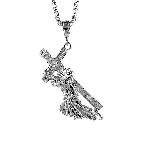 Sterling Silver Christ Carrying the Cross Pendant, 2 5/8 inch tall
