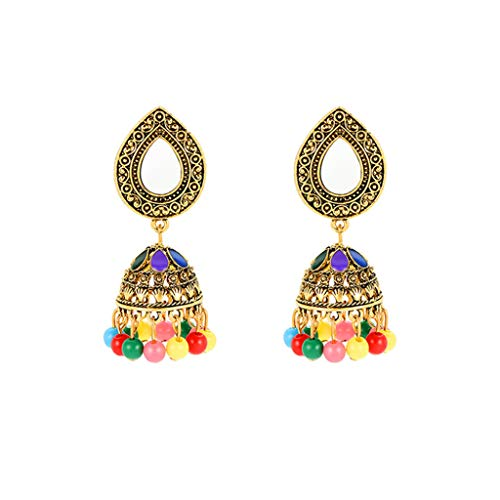 Sinfu Women's Vintage Earrings Sun Flower Crystal Gemstone Stud Earrings Tassel Bell Pendant Earrings Jewelry (D)