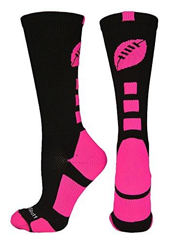 MadSportsStuff Football Logo Crew Socks, Medium, Black/Neon Pink