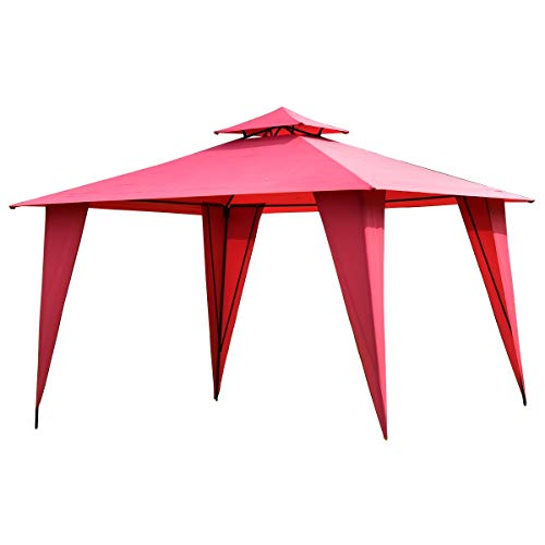 EnjoyShop 2-Tier 11' x 11' Patio Party Canopy Tent with Slant Legs Outdoor Awning Heavy Duty Wedding Party Tent Up Pop Canopy Gazebo Waterproof Patio Shelter