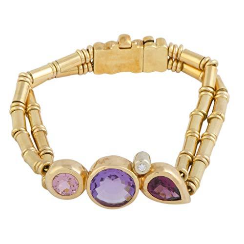Manfredi 18K Yellow and White Gold Diamond, Kunzite, Amethyst and Pink Tourmaline Bracelet