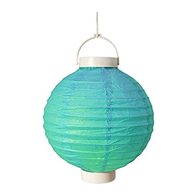"LumaBase 79503 3 Count Battery Operated Paper Lanterns, 8"", Turquoise"