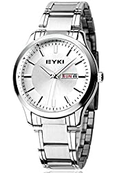 Big Dragonfly Men's Couple Lovers Stainless Steel Calendar Wrist Watch EYKI 1150 White Silver