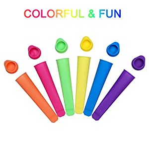 Set Of 6 Silicone Popsicle Molds Ice Pop Molds Maker, Multi Colors