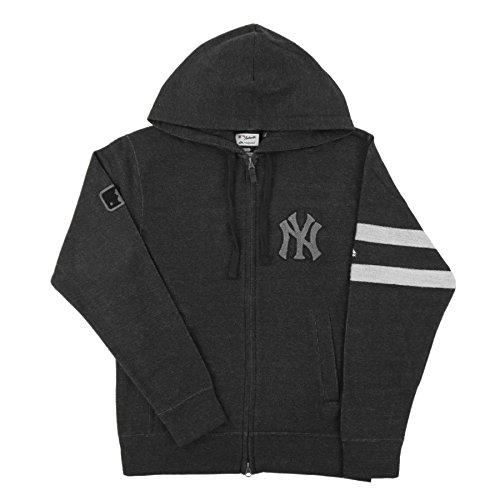 New York Yankees Black Denim AC Clubhouse Fleece Hooded Sweatshirt Hoody (XL)
